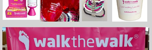 Walk the Walk fundraising items, badges, balloons, banner and more