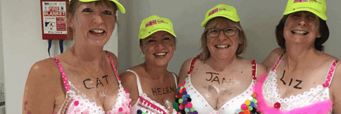 Team dots in their decorated bras