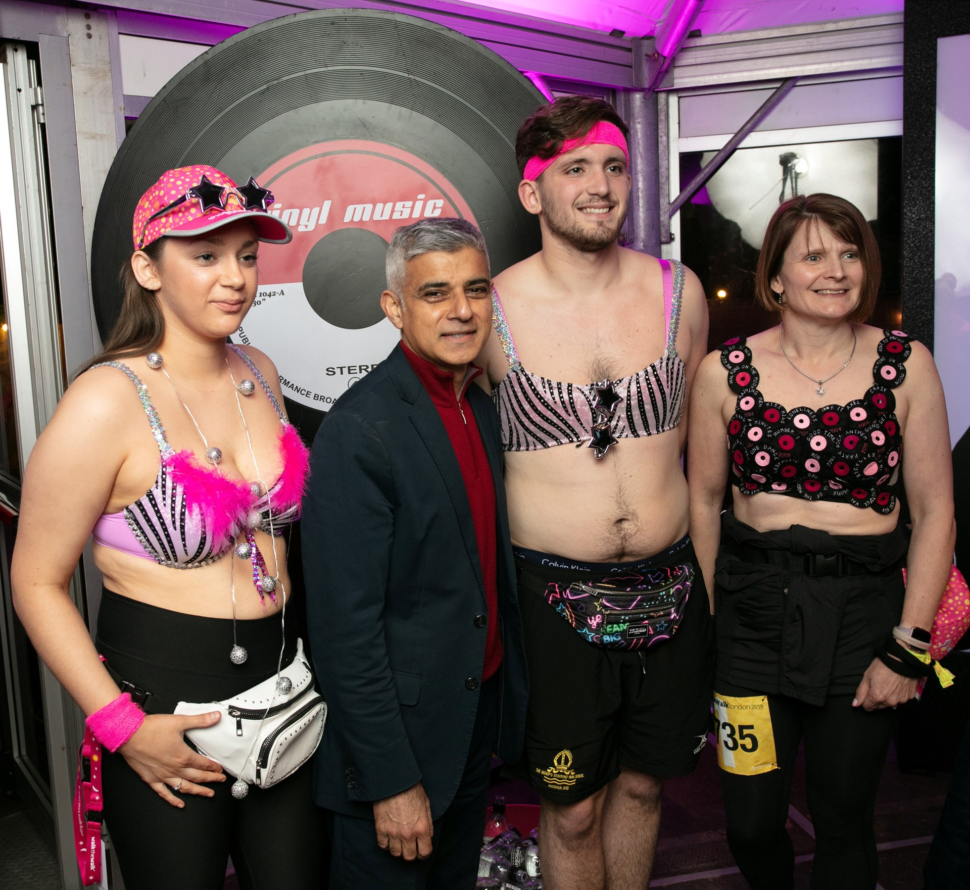 f957a146e Mayor of The MoonWalk! Sadiq Khan supports thousands of bra-wearing walkers  at iconic fundraising event